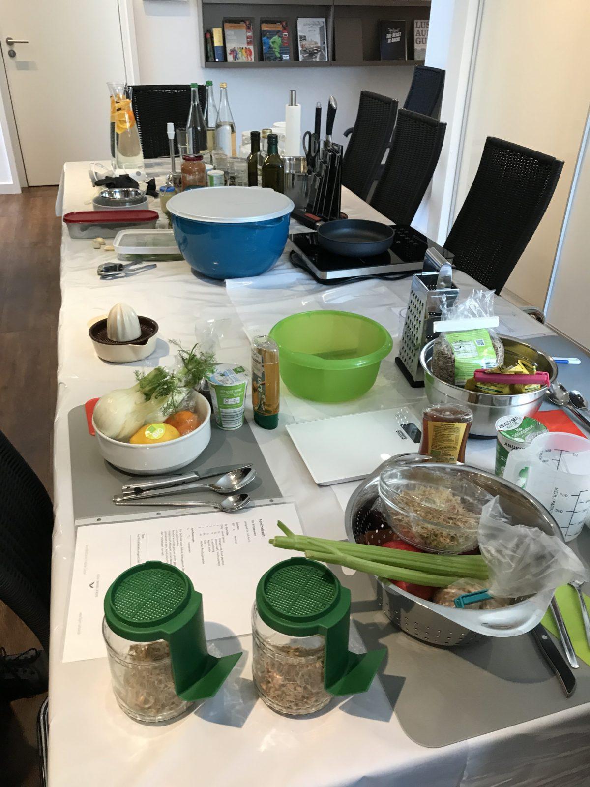 gesund kochen alles vorbereitet
